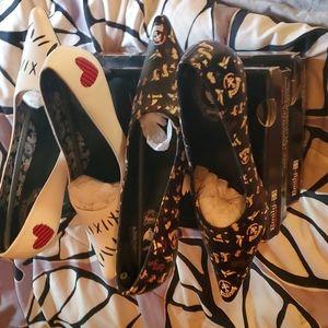 TUK Emily the Strange kitten heels spooky Halloween 2 pairs New in boxes size 8
